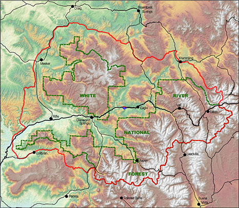 Map of the White River National Forest